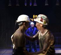 WONDERLAND   by Beth Steel   design: Ashley Martin Davis   lighting: Peter Mumford   director: Edward Hall   l-r: David Moorst (Malcom), Simon Slater (Tilsley), Paul Brennen (Colonel) Hampstead Thea...