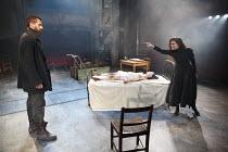 THE CRUCIBLE   by Arthur Miller   design: Soutra Gilmour   lighting: Tim Lutkin   director: Yael Farber ~l-r: Richard Armitage (John Proctor), (on bed) Marama Corlett (Betty Parris), Samantha Colley (...