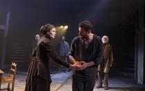 THE CRUCIBLE   by Arthur Miller   design: Soutra Gilmour   lighting: Tim Lutkin   director: Yael Farber ~front: Anna Madeley (Elizabeth Proctor), Richard Armitage (John Proctor)~Old Vic Theatre (OV),...