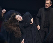 THE CRUCIBLE   by Arthur Miller   design: Soutra Gilmour   lighting: Tim Lutkin   director: Yael Farber ~possessed: Samantha Colley (Abigail Williams), Adrian Schiller (Reverend John Hale)~Old Vic The...