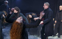 THE CRUCIBLE   by Arthur Miller   design: Soutra Gilmour   lighting: Tim Lutkin   director: Yael Farber   girls possessed - centre: Samantha Colley (Abigail Williams)   with (l-r) Jack Ellis (Deputy...