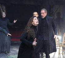 THE CRUCIBLE   by Arthur Miller   design: Soutra Gilmour   lighting: Tim Lutkin   director: Yael Farber   Samantha Colley (Abigail Williams), Jack Ellis (Deputy Governor Danforth) Old Vic Theatre (O...