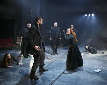 THE CRUCIBLE   by Arthur Miller   design: Soutra Gilmour   lighting: Tim Lutkin   director: Yael Farber   front: Richard Armitage (John Proctor), Natalie Gavin (Mary Warren)   rear, l-r: Adrian Schil...