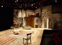 BLACK COMEDY   by Peter Shaffer   design: Andrew D Edwards   lighting: James Whiteside   director: Jamie Glover ~stage,set,full,empty,thrust,split level,interior,stairs,curtain,bed,chaise longue,door~...