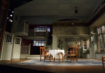 THE IMPORTANCE OF BEING EARNEST   by Oscar Wilde   design: William Dudley   lighting: Oliver Fenwick   director: Lucy Bailey   stage,set,empty,interior,windows,doors,stained glass Harold Pinter Thea...