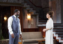 MEDEA   by Euripides   in a new version by Ben Power   design: Tom Scutt   lighting: Lucy Carter   director: Carrie Cracknell ~~Danny Sapani (Jason), Helen McCrory (Medea)~Olivier Theatre / National T...