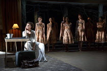 MEDEA   by Euripides   in a new version by Ben Power   design: Tom Scutt   lighting: Lucy Carter   director: Carrie Cracknell ~~Helen McCrory (Medea) and Chorus~Olivier Theatre / National Theatre (NT)...