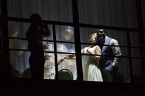 MEDEA   by Euripides   in a new version by Ben Power   design: Tom Scutt   lighting: Lucy Carter   director: Carrie Cracknell~~right: Clemmie Sveaas (Kreusa), Danny Sapani (Jason)~Olivier Theatre / Na...