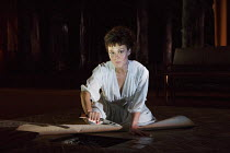 MEDEA   by Euripides   in a new version by Ben Power   design: Tom Scutt   lighting: Lucy Carter   director: Carrie Cracknell~~Helen McCrory (Medea) with dagger~Olivier Theatre / National Theatre (NT)...