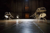 THE TWO GENTLEMEN OF VERONA   by Shakespeare   design: Paul Wills   lighting: Bruno Poet   director: Simon Godwin ~stage,full,set,empty,chair,table,cafe,floor~Royal Shakespeare Company (RSC) / Royal S...