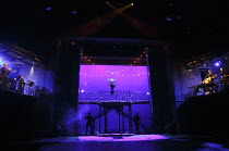 THE TWO GENTLEMEN OF VERONA   by Shakespeare   design: Paul Wills   lighting: Bruno Poet   director: Simon Godwin ~stage,full,set,musicians,band,lights,colour~Royal Shakespeare Company (RSC) / Royal S...