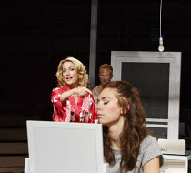 A STREETCAR NAMED DESIRE   by Tennessee Williams   set design: Magda Willi   costumes: Victoria Behr   lighting: Jon Clark   director: Benedict Andrews ~front, l-r: Gillian Anderson (Blanche DuBois),...