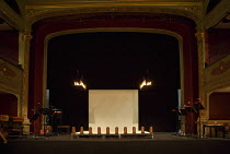 interior,stage,full,empty,screen,footlights,candles,proscenium,music stands,boxes Bristol Old Vic (BOV) / Bristol, England   02/08/2014