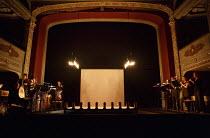 interior,stage,full,empty,screen,footlights,candles,proscenium,musicians,instruments Bristol Old Vic (BOV) / Bristol, England   02/08/2014