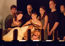 DIDO AND AENEAS   by Purcell   conductor/harpsichord: Robert Howarth   design: Rod Maclachan   co-directors: John Retallack & Tom Morris   Dido dies - front left, l-r: Lisa Wilson (Second Woman), Cla...