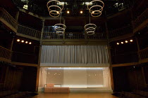 THE WHITE DEVIL   by John Webster   design: Naomi Dawson   lighting: James Farncombe   director: Maria Aberg ~stage,empty,full,set,balcony,curtain,screen,lights,modern~Royal Shakespeare Company (RSC)...