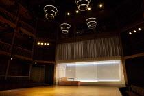 THE WHITE DEVIL   by John Webster   design: Naomi Dawson   lighting: James Farncombe   director: Maria Aberg ~interior,stage,empty,full,set,balcony,curtain,screen,lights,modern~Royal Shakespeare Compa...