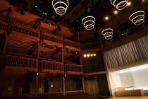THE WHITE DEVIL   by John Webster   design: Naomi Dawson   lighting: James Farncombe   director: Maria Aberg ~interior,stage,set,balcony,curtain,screen,lights,modern~Royal Shakespeare Company (RSC) /...