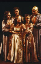 ANTONY AND CLEOPATRA   by Shakespeare   set design: Alison Chitty   lighting: Stephen Wentworth   director: Peter Hall ~~front, l-r: Helen Fitzgerald (Iras), Judi Dench (Cleopatra), Miranda Foster (Ch...