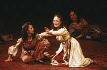 ANTONY AND CLEOPATRA   by Shakespeare   design: Alison Chitty   lighting: Stephen Wentworth   director: Peter Hall ~~front, l-r: Miranda Foster (Charmian),  Judi Dench (Cleopatra)~Olivier Theatre / Na...