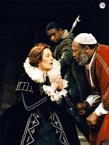 ANTONY AND CLEOPATRA   by Shakespeare   set design: Simon D. Beresford   lighting: Jim Simmons   director: Vanessa Redgrave ~l-r: Vanessa Redgrave (Cleopatra), David Harewood (Enobarbus), Paul Butler...
