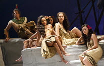 PITCAIRN   by Richard Bean   design: Tim Shortall   lighting: Johanna Town   director: Max Stafford-Clark ~natives of Pitcairn, Tahiti~co-production with Out of Joint & Shakespeare's Globe / Minerva T...