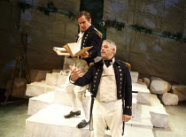 PITCAIRN   by Richard Bean   design: Tim Shortall   lighting: Johanna Town   director: Max Stafford-Clark ~l-r: Henry Pettigrew (Captain Pipon), David Rubin (Captain Staines)~co-production with Out of...