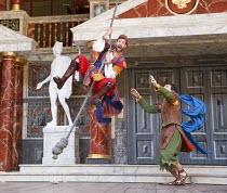 THE COMEDY OF ERRORS   by Shakespeare   design: James Cotterill   director: Blanche McIntyre   l-r: Simon Harrison (Antipholus of Syracuse), Jamie Wilkes (Dromio of Ephesus) Shakespeare's Globe (SG)...