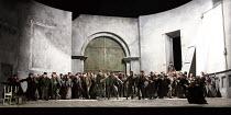 OTELLO   by Verdi   after Shakespeare   conductor: Edward Gardner   design: Jon Morrell   lighting: Adam Silverman   director: David Alden ~opening storm scene, crowd chorus   rear right, in window: J...