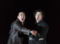 OTELLO   by Verdi   after Shakespeare   conductor: Edward Gardner   design: Jon Morrell   lighting: Adam Silverman   director: David Alden ~blood bond - l-r: Jonathan Summers (Iago), Stuart Skelton (O...