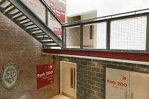 interior,signs,brick,wall,stairs,foyer,door   Park Theatre, Finsbury Park, London N4   05/2013