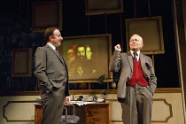 SINGLE SPIES   by Alan Bennett   design: Francis O'Connor   lighting: Paul Pyant   director: Sarah Esdaile   A QUESTION OF ATTRIBUTION - l-r: Alex Blake (Chubb), Michael Pennington (Sir Anthony Blunt...