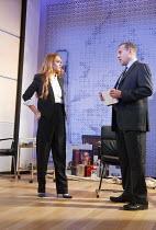 SPEED THE PLOW   by David Mamet   design: Robert Innes Hopkins   lighting: Paul Anderson   director: Lindsay Posner ~Lindsay Lohan (Karen), Nigel Lindsay (Charlie Fox)~Playhouse Theatre, London WC2...