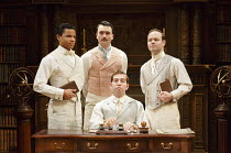 LOVE'S LABOUR'S LOST   by Shakespeare   design: Simon Higlett   lighting: Oliver Fenwick   director: Christopher Luscombe ~l-r: Tunji Kasim (Dumaine), William Belchambers (Longaville), (seated) Edward...