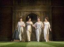 LOVE'S LABOUR'S LOST   by Shakespeare   design: Simon Higlett   lighting: Oliver Fenwick   director: Christopher Luscombe ~l-r: Frances McNamee (Maria), Leah Whitaker (Princess of France), Michelle Te...