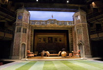LOVE'S LABOUR'S LOST   by Shakespeare   design: Simon Higlett   lighting: Oliver Fenwick   director: Christopher Luscombe ~stage,set,full,empty,interior,exterior,Charlecote,Park,Tudor,brickwork,sundia...