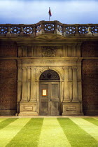 LOVE'S LABOUR'S LOST   by Shakespeare   design: Simon Higlett   lighting: Oliver Fenwick   director: Christopher Luscombe ~set,exterior,Charlecote,Park,Tudor,flag,lawn,grass~Royal Shakespeare Company...