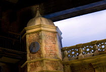 LOVE'S LABOUR'S LOST   by Shakespeare   design: Simon Higlett   lighting: Oliver Fenwick   director: Christopher Luscombe ~set,exterior,detail,brickwork,Charlecote,Park,Tudor,tower,sundial~Royal Shake...