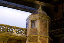 LOVE'S LABOUR'S LOST   by Shakespeare   design: Simon Higlett   lighting: Oliver Fenwick   director: Christopher Luscombe ~set,exterior,detail,brickwork,Charlecote,Park,Tudor,tower~Royal Shakespeare C...