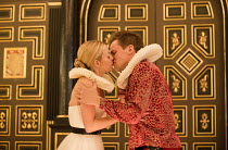 'TIS PITY SHE'S A WHORE   by John Ford   design: Alex Lowde   director: Michael Longhurst ~Act 1: sc.2: Fiona Button (Annabella), Max Bennett (Giovanni)~Sam Wanamaker Playhouse / Shakespeare's Globe (...