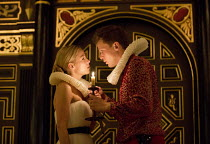 'TIS PITY SHE'S A WHORE   by John Ford   design: Alex Lowde   director: Michael Longhurst ~Act 1: sc.2: Fiona Button (Annabella), Max Bennett (Giovanni) ~Sam Wanamaker Playhouse / Shakespeare's Globe...