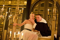 'TIS PITY SHE'S A WHORE   by John Ford   design: Alex Lowde   director: Michael Longhurst ~Act 3: sc.6: Fiona Button (Annabella), Michael Gould (Friar Bonaventure)~Sam Wanamaker Playhouse / Shakespear...