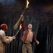 THE WITCH OF EDMONTON   by Dekker, Ford & Rowley   design: Niki Turner   lighting: Tim Mitchell   director: Gregory Doran ~l-r: Michael Moreland (Ratcliffe), Oliver Dench (Hamluc)~Royal Shakespeare Co...