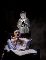THE WITCH OF EDMONTON   by Dekker, Ford & Rowley   design: Niki Turner   lighting: Tim Mitchell   director: Gregory Doran ~Ian Bonar (Frank Thorney), Faye Castelow (Susan - as ghost)~Royal Shakespeare...