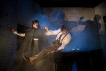 GRAND GUIGNOL   by Carl Grose   design: Alex Doidge-Green   lighting: David W. Kidd   director: Simon Stokes   l-r: Andy Williams (Edgar Poe), Jonathan Broadbent (De Lorde) a Theatre Royal Plymouth...