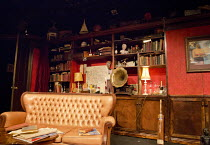 FIRST EPISODE   by Terence Rattigan   with Philip Heimann   set design: Neil Irish   costumes: Emily Stuart   lighting: Tim Mascall   director: Tom Littler ~stage,set,empty,Oxford,30s,period,interior,...