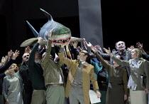 IDOMENEO   by Mozart   conductor: Marc Minkowski   set design: Annette Murschetz   costumes: Heide Kastler   lighting: Reinhard Traub   director: Martin Kusej   chorus with rubber shark co-productio...