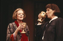 LETTICE AND LOVAGE  by Peter Shaffer  set design: Alan Tagg  costumes: Susan Yelland  lighting: Robert Bryan  director: Michael Blakemore ~~l-r: Maggie Smith (Lettice Douffet), Margaret Tyzack (Lotte...