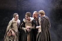 MACBETH  by Shakespeare  design: Christopher Oram  lighting: Neil Austin  director: John Caird  ~Simon Russell Beale (Macbeth) with the Witches   l-r: Janet Whiteside, Ann Firbank, Jane Thorne~Almeida...