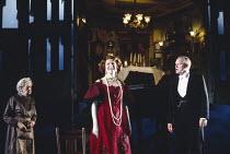 AN INSPECTOR CALLS by J B Priestley design: Ian MacNeil director: Stephen Daldry   l-r: Georgina Beer (Edna), Judy Parfitt (Sybil Birling), Julian Glover (Arthur Birling) National Theatre productio...